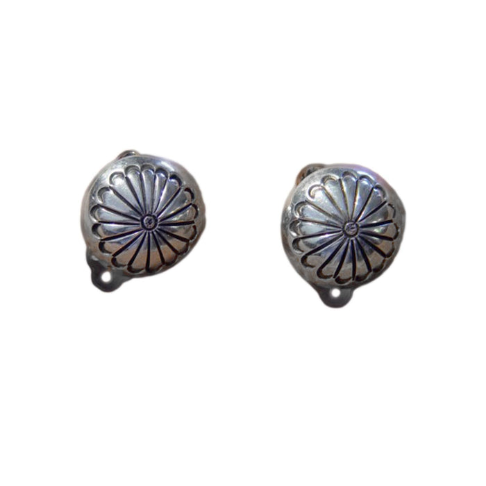Native American Jewelry : Navajo : Sterling Silver Clip-On Earrings : NAJ-7E