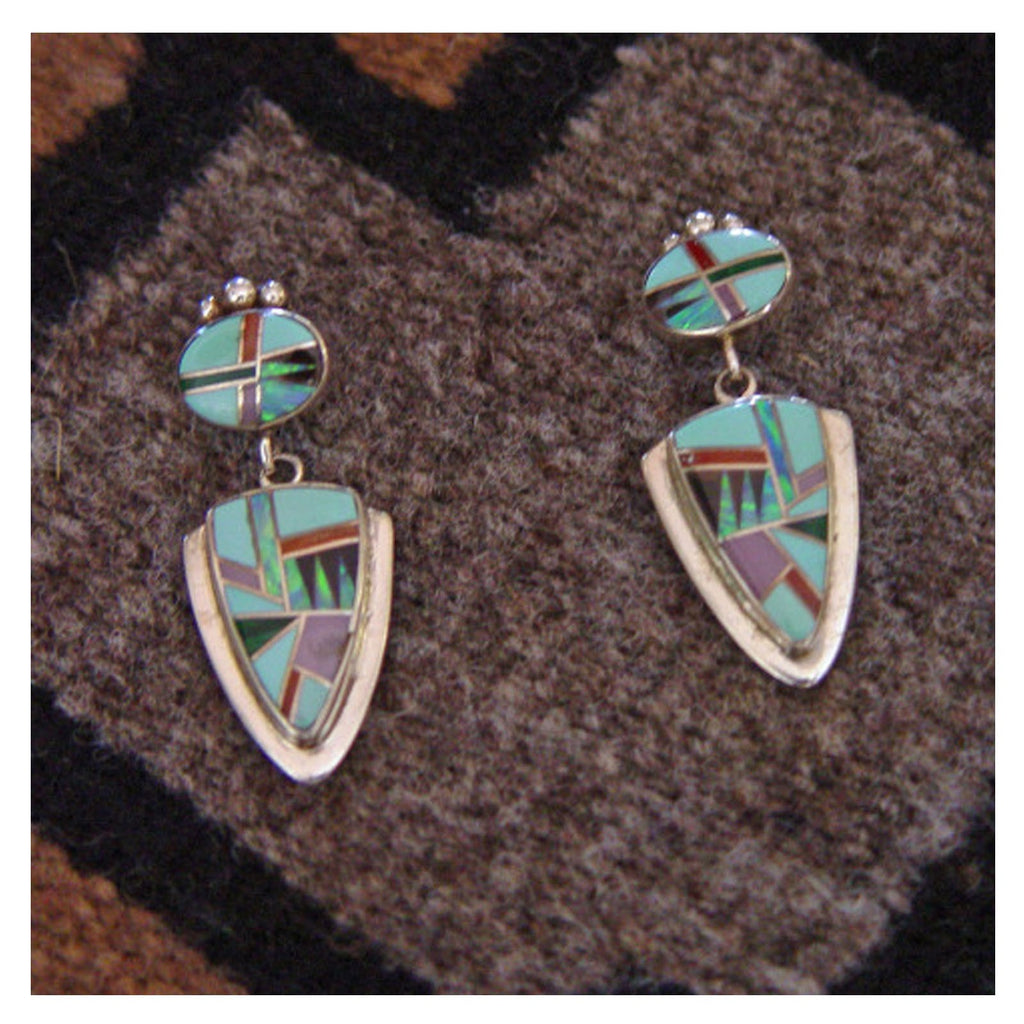 SOLD Jewelry : Turquoise and Opal Inlay Earrings : NAJ-6E - Getzwiller's Nizhoni Ranch Gallery