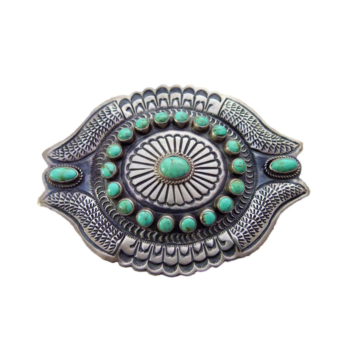 Native American Jewelry: Navajo : Turquoise and Silver Belt Buckle : DB