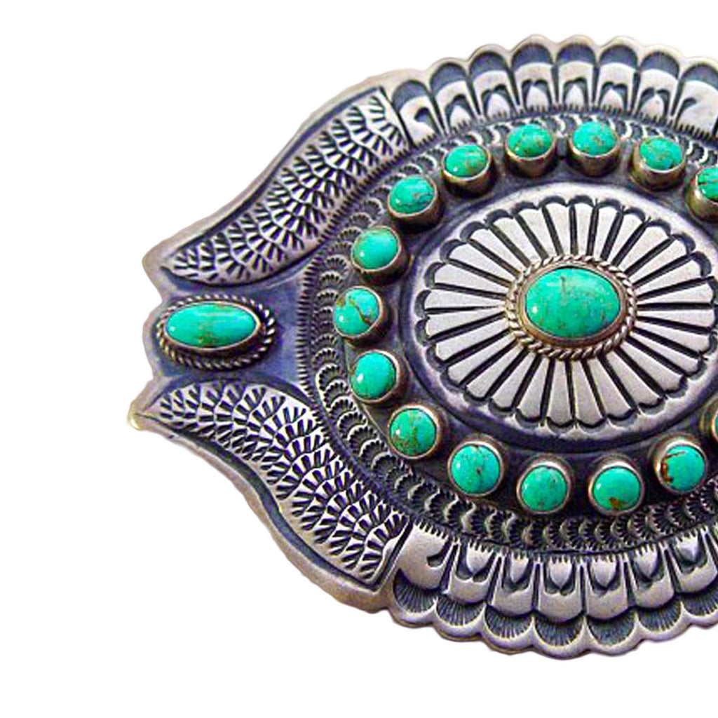 Jewelry : Turquoise and Silver Belt Buckle : DB - Getzwiller's Nizhoni Ranch Gallery
