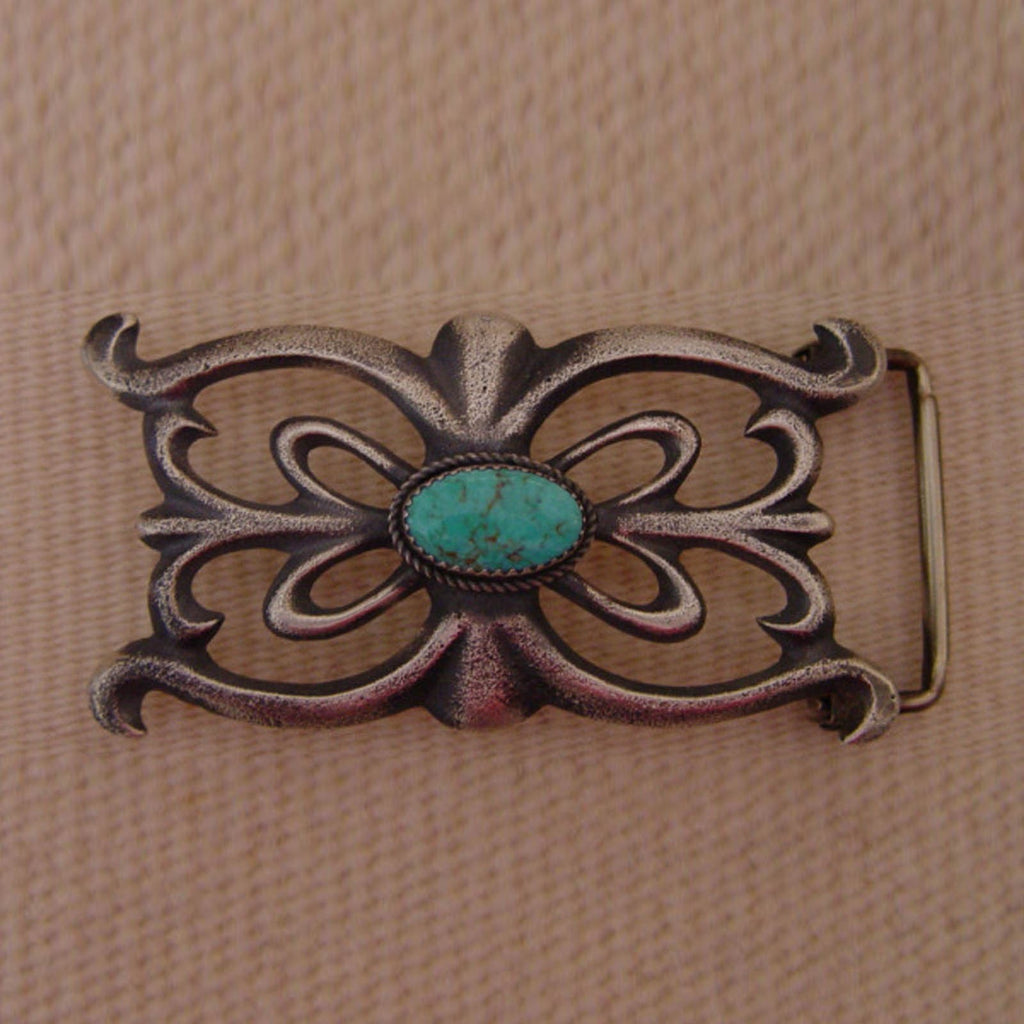 Native American Jewelry : Navajo : Kingman Turquoise and Sterling Silver Navajo Belt Buckle : Martha Cayatineto - Getzwiller's Nizhoni Ranch Gallery