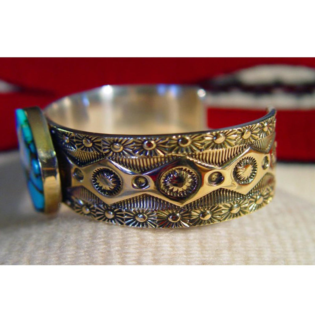 Jewelry : Carico Lake Turquoise Bracelet - Silver With Gold Overlay : Marc Antia : NAJ-20