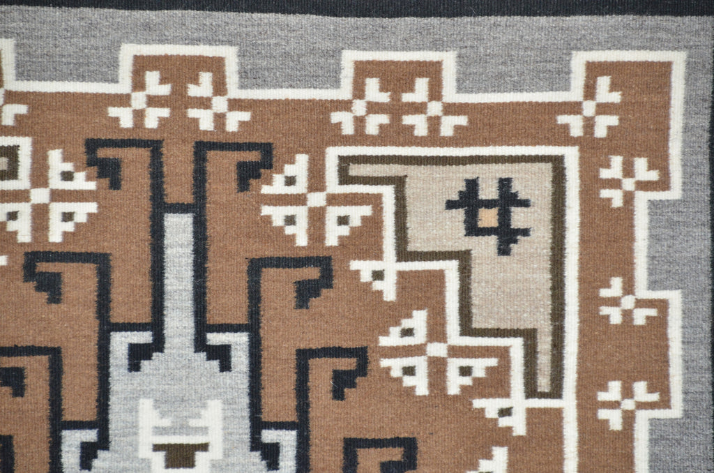 Two Grey Hills Navajo Tapestry close up view