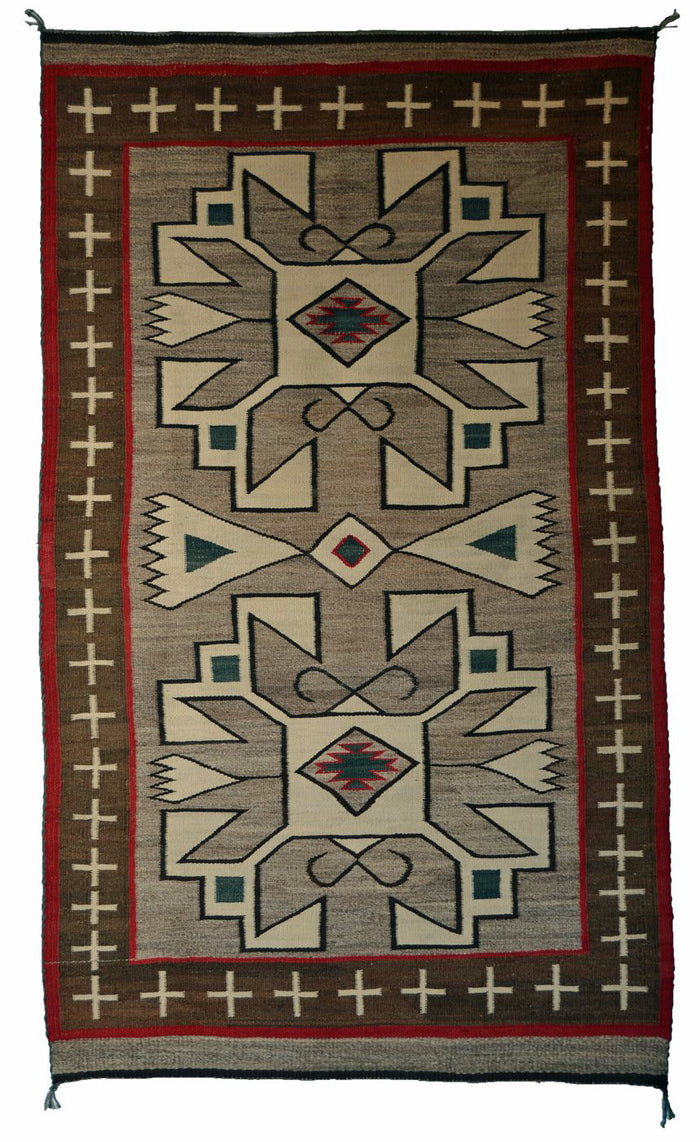 "JB-Moore Crystal Navajo Rug : Historic : PC 117 : 38"" x 66"""
