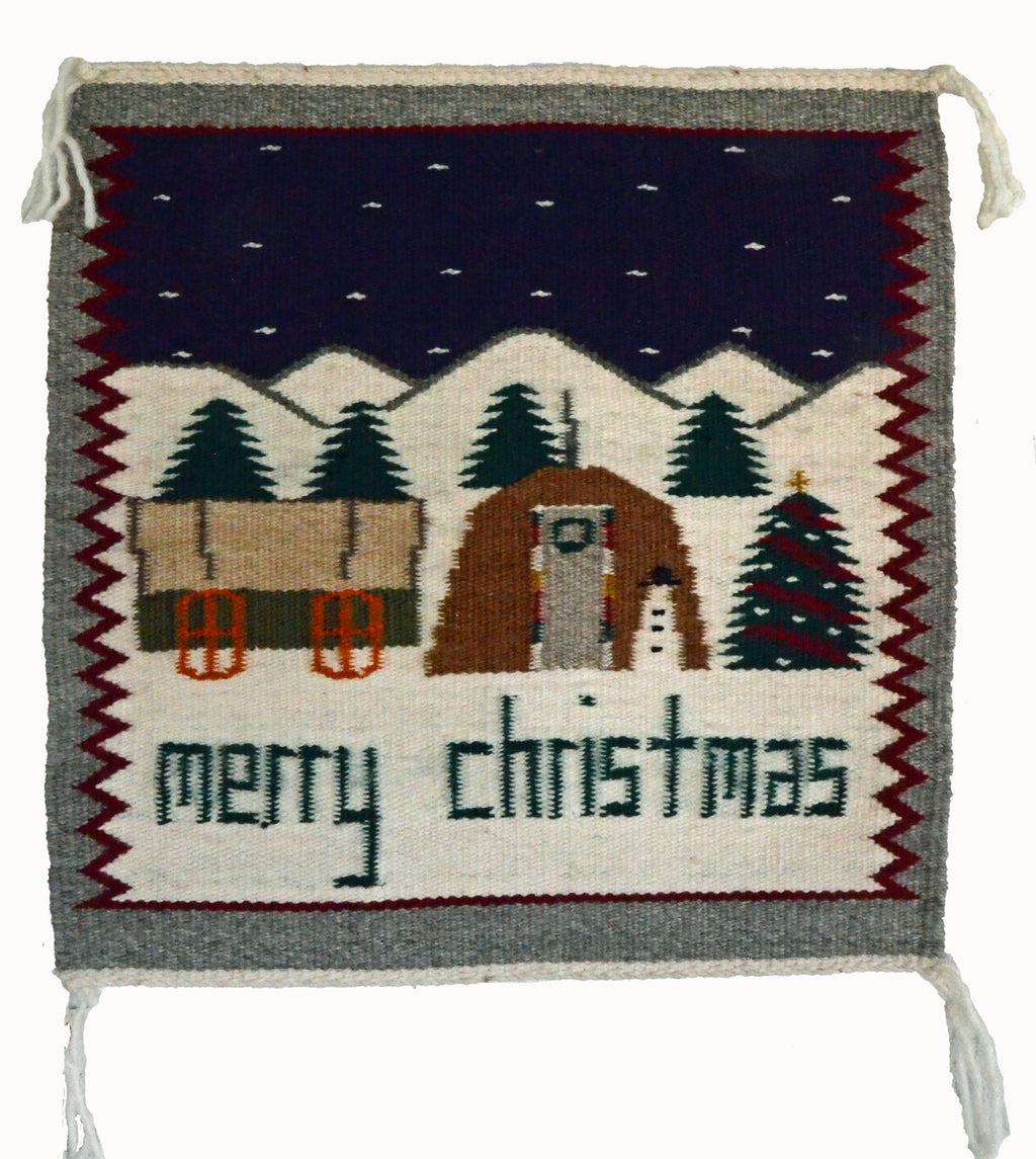 Christmas Pictorial Navajo Weaving : Ella Begay : 3330 - Getzwiller's Nizhoni Ranch Gallery