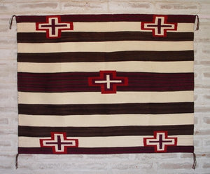 "Navajo 3rd Phase Woman's Blanket : Judy Marianito : Churro 1383 : 48"" x 60"" - Getzwiller's Nizhoni Ranch Gallery"