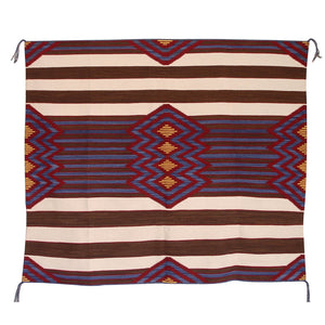 HOLD - 3rd Phase Navajo Chief Blanket : Lucie Marianito : Churro 1389 : 52″ x 58″ - Getzwiller's Nizhoni Ranch Gallery