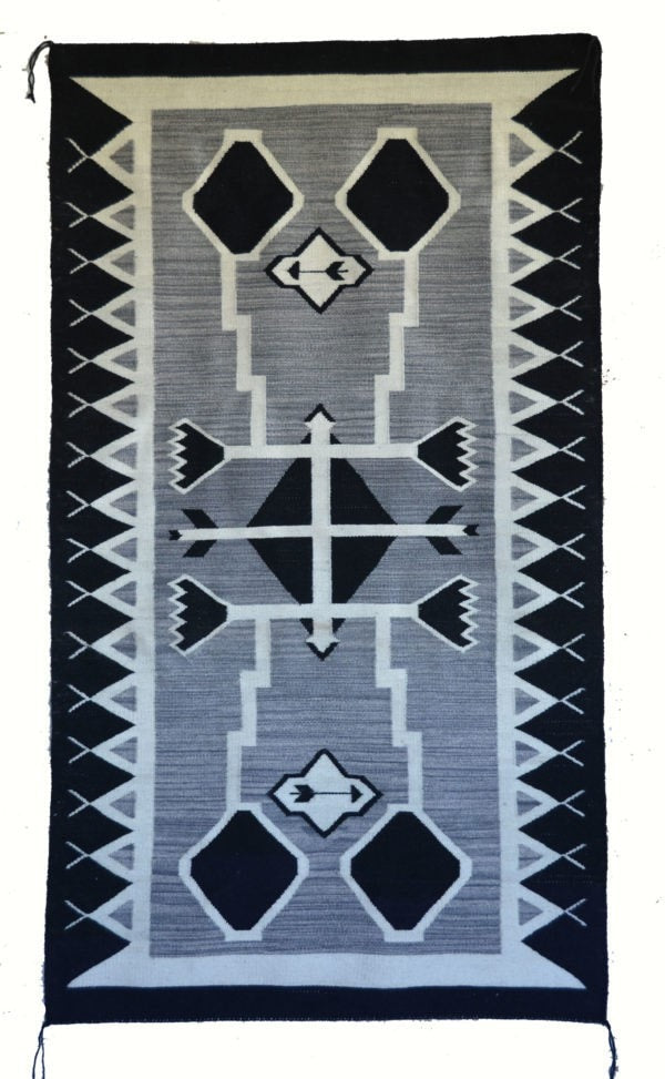 Storm Pattern Pictorial Navajo Rug : Irvin Phillips : Churro 1484 : 34″ x 60″