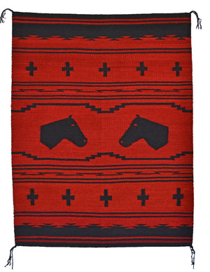 Churro 1608 : Horse Pictorial Native American Rug - Getzwiller's Nizhoni Ranch Gallery