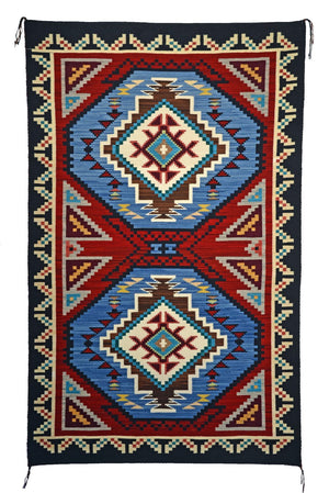 "Teec Nos Pos / Burntwater : Native American Rug : Frances Begay : Churro 1611 : 38"" x 60"" - Getzwiller's Nizhoni Ranch Gallery"