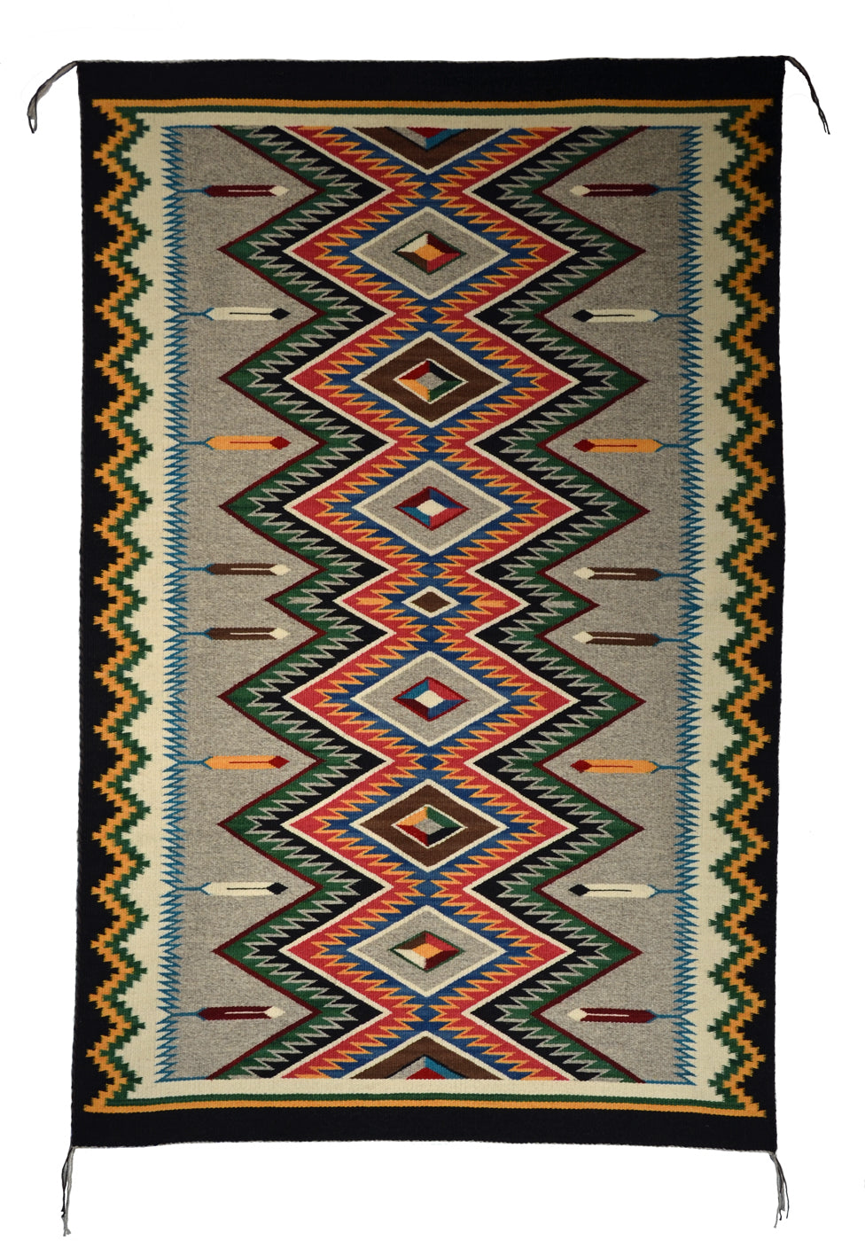 "Red Mesa Navajo Rug Weaving : Cara Yazzie : Churro 1614 : 60"" x 38"" - Getzwiller's Nizhoni Ranch Gallery"