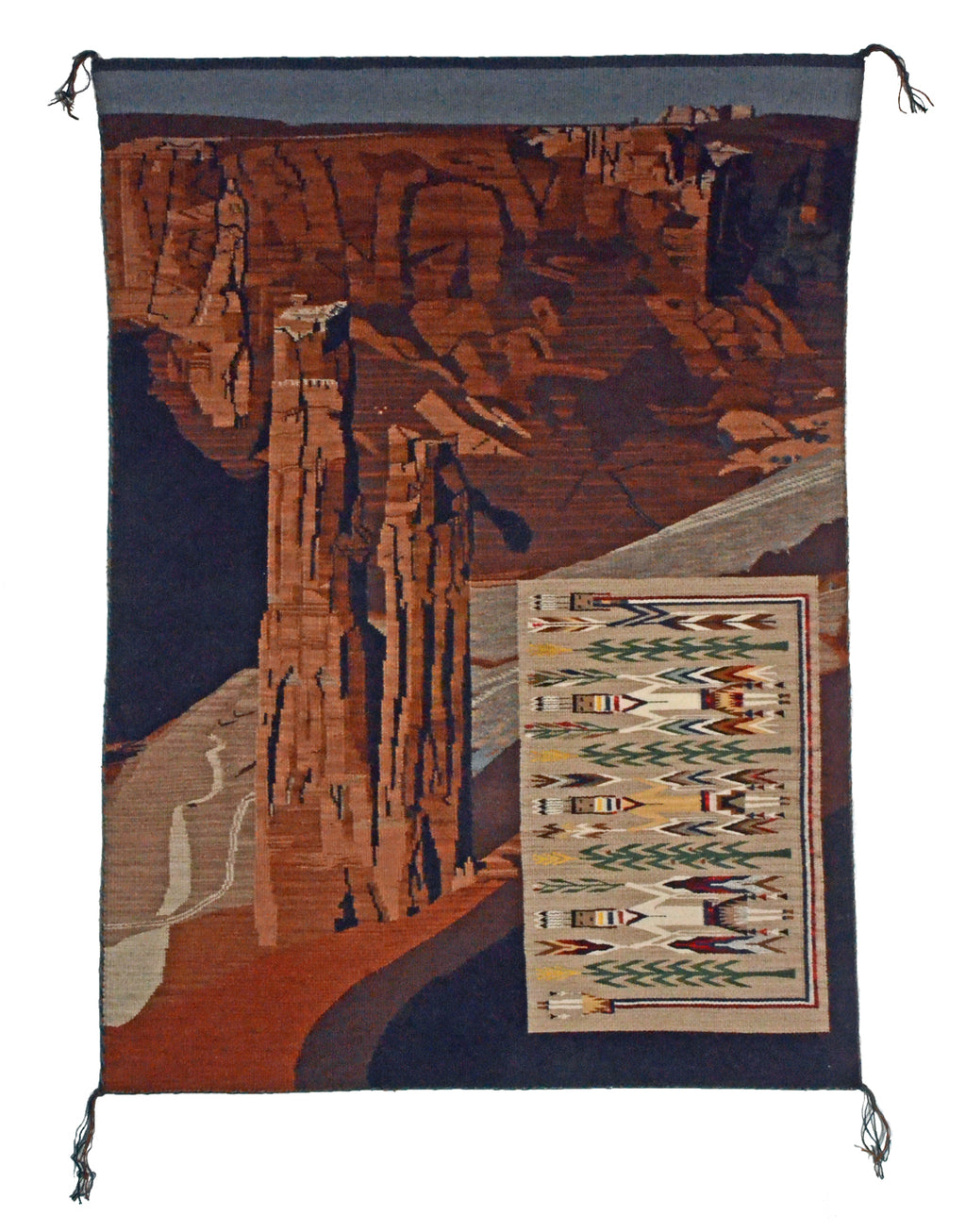 HOLD Spider Rock Pictorial Navajo Rug : Marian Nez : Churro 1658