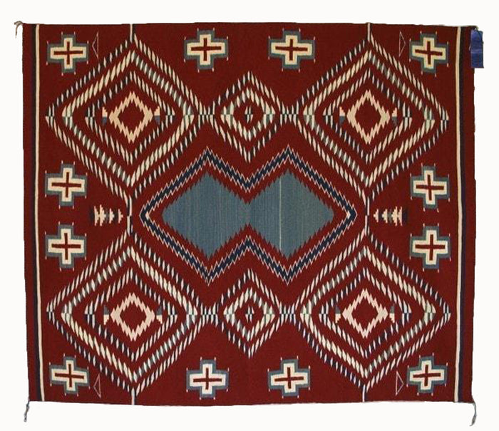Serape Navajo Weaving : Laverta Marianito : Churro 425 : 62″ x 73″