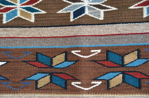 Churro1607- Detail photo of Native American rug, Crystal style with Velero star.