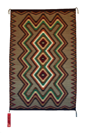 SOLD Red Mesa Navajo Rug Weaving : Frances Begay : Churro 1043 : 42″ x 66″ - Getzwiller's Nizhoni Ranch Gallery