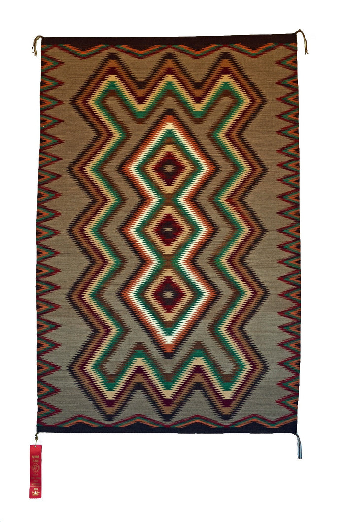Red Mesa Navajo Rug Weaving : Frances Begay : Churro 1043 : 42″ x 66″