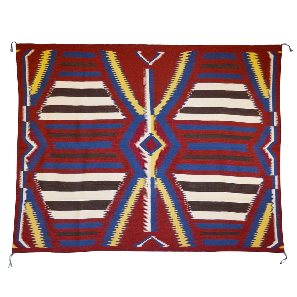 3rd Phase Navajo Chief Blanket : Julia Upshaw : Churro 1393 : 58″ x 74″ - Getzwiller's Nizhoni Ranch Gallery