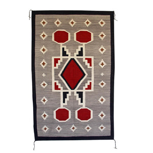 Crystal Old Style / Storm Pattern Navajo Weaving : Irvin Phillips : Churro 1432 : 38″ x 60″ - Getzwiller's Nizhoni Ranch Gallery