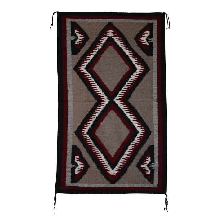 Navajo Double Saddle Blanket - Western Reservation : Rose Tsinnijinnie : Churro 1445 : 37″ x 60″
