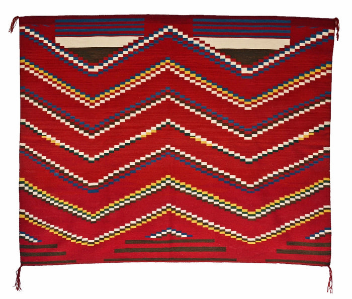 "3rd Phase Navajo Chief Blanket : Lucie Marianito : Churro 1497 : 60"" x 72"""