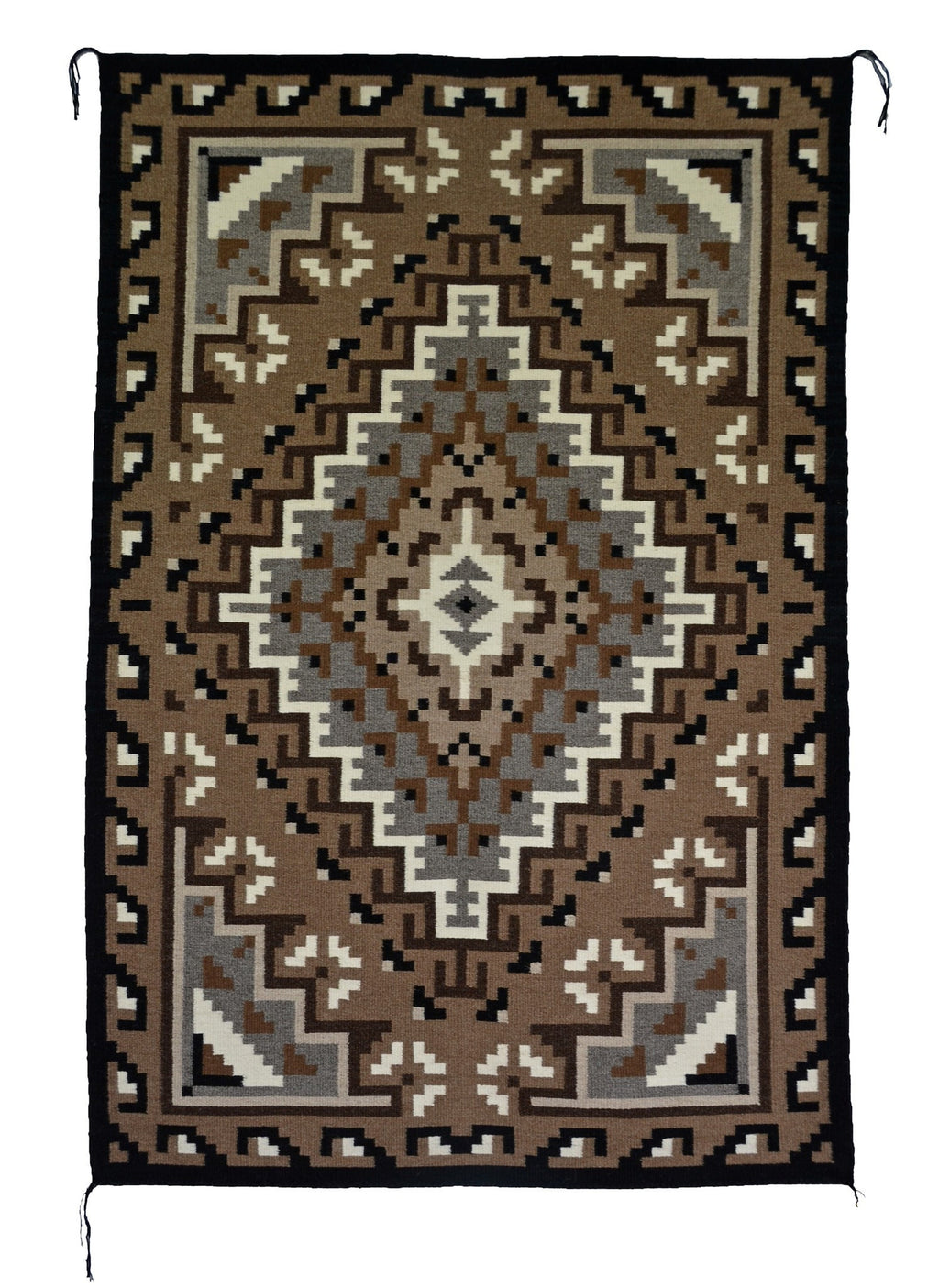 "Two Grey Hills Navajo Rug : Helen Bia : Churro 1503 : 39"" x 62"" - Getzwiller's Nizhoni Ranch Gallery"