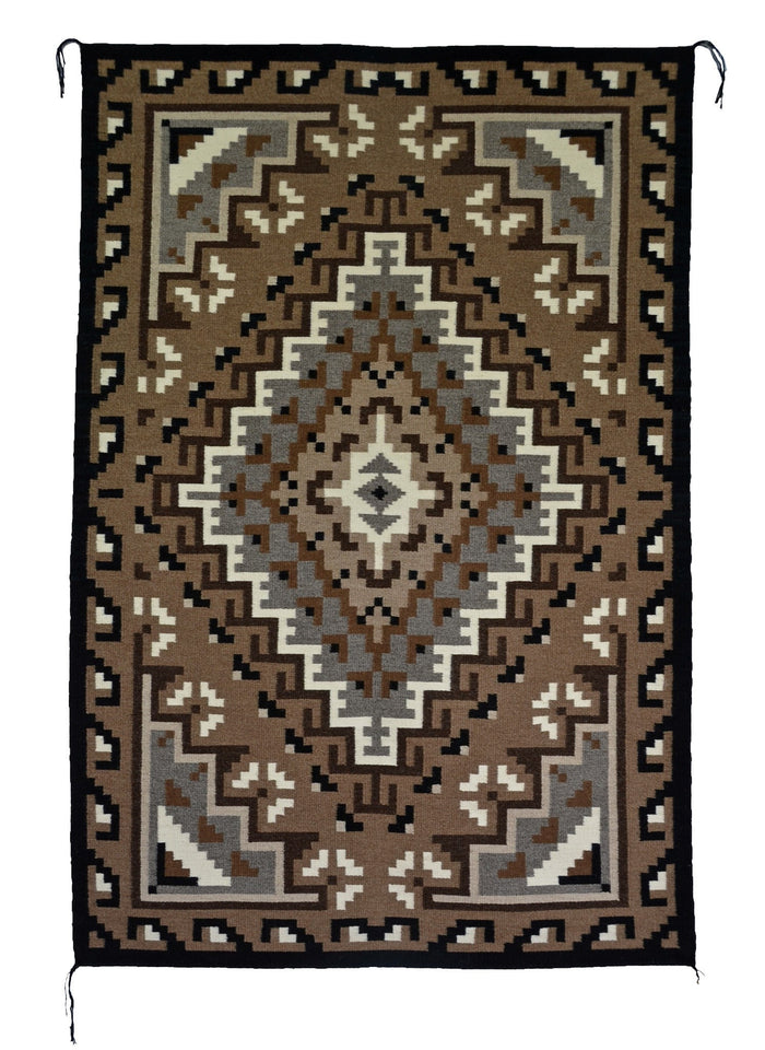 "Two Grey Hills Navajo Rug : Helen Bia : Churro 1503 : 39"" x 62"""