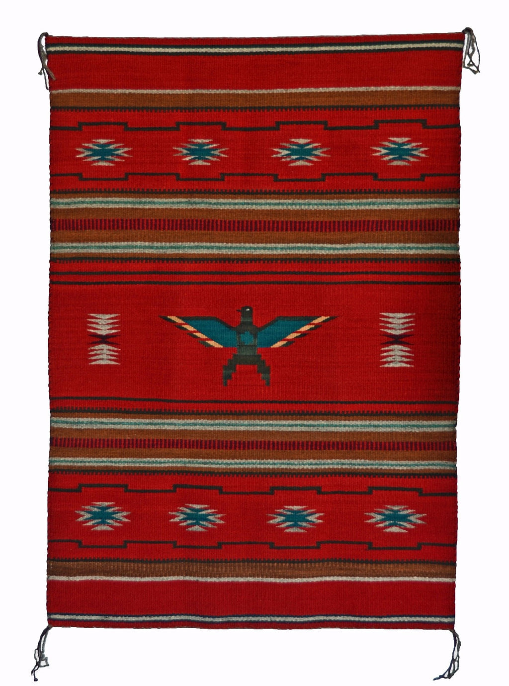 "Chinle Pictorial Navajo Weaving : Eagle design : Churro 1519 : 31"" x 46"" - Getzwiller's Nizhoni Ranch Gallery"