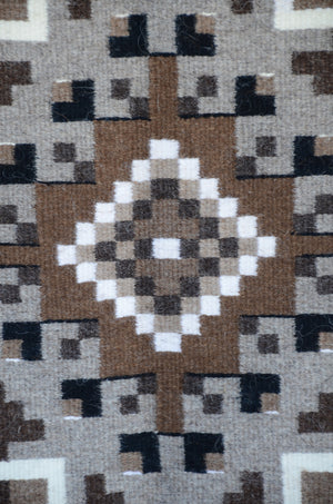 "Two Grey Hills Navajo Rug : Helen Bia : Churro 1527 : 40"" x 61"" - Getzwiller's Nizhoni Ranch Gallery"