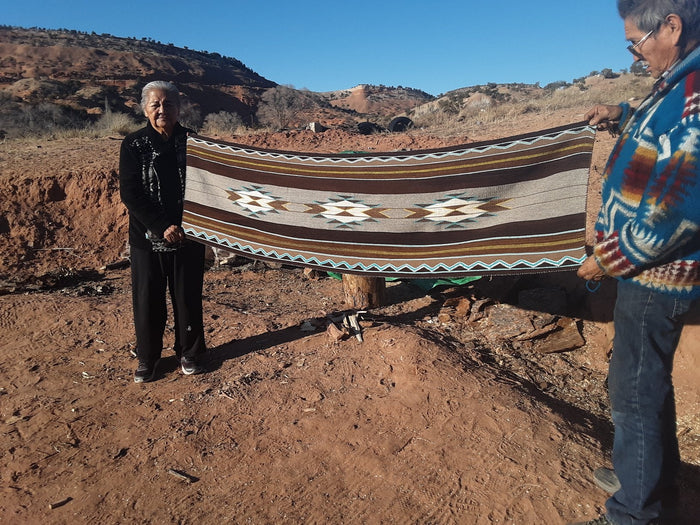 "Navajo Womans Shawl : Lucie Marianito : Churro 1619 : 73"" x 20"""