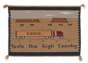 "Pictorial : Coors Beer Navajo Weaving : PC 32 : 6"" x 5″ - Getzwiller's Nizhoni Ranch Gallery"
