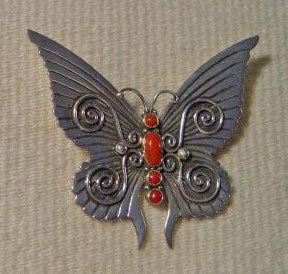 Native American Jewelry : Navajo : Butterfly Pin : Lee Charley : NAJ-7p