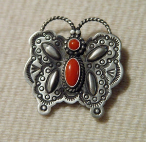 Native American Jewelry: Navajo : Navajo Coral Butterfly Pin : Herman Smith : NAJ-10p - Getzwiller's Nizhoni Ranch Gallery