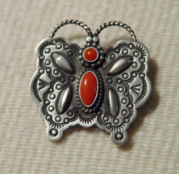 Native American Jewelry: Navajo : Navajo Coral Butterfly Pin : Herman Smith : NAJ-10p