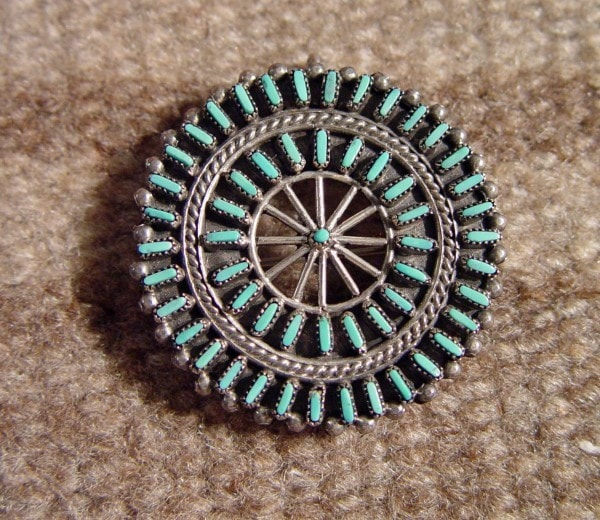 Jewelry : Zuni Petit Point Pin : NAJ-16P - Pins - JEWELRY- Getzwiller's Nizhoni Ranch Gallery - NavajoRug.com