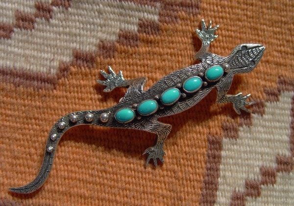 Native American Jewelry: Navajo : Turquoise Lizard Pin : Lee Charley : NAJ-14P - Getzwiller's Nizhoni Ranch Gallery
