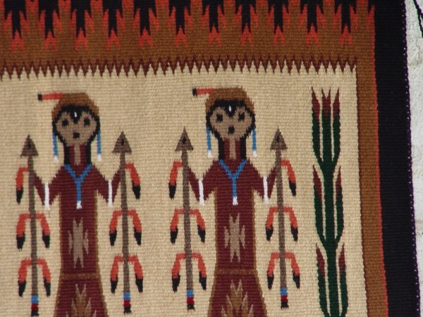 Yei Foxtail Navajo Weaving : Ruby White : 3202 - Getzwiller's Nizhoni Ranch Gallery