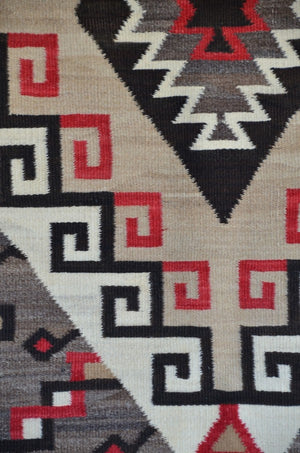 SOLD Crystal / Storm Pattern Navajo Weaving : Historic : GHT 2208 : 48″ x 69″ - Getzwiller's Nizhoni Ranch Gallery
