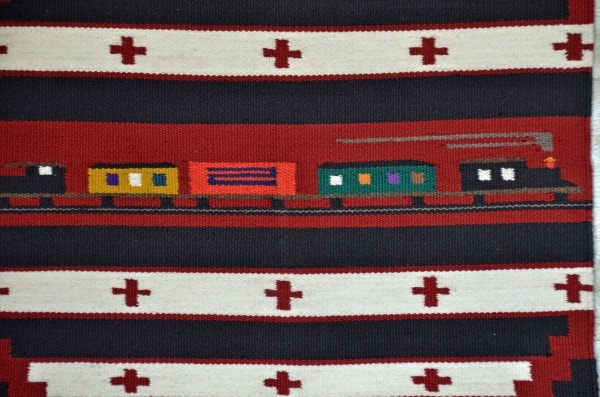 Pictorial Train Navajo Weaving : James Joe : 3211 - Getzwiller's Nizhoni Ranch Gallery