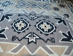 "Two Grey Hills Navajo Rug Weaving : Historic : PC 142: 6'11"" x 10'9"" - Getzwiller's Nizhoni Ranch Gallery"