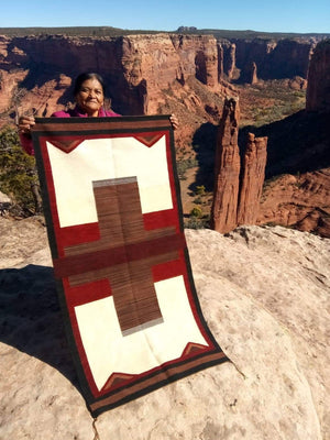 "Native American Saddle Blanket :  Elsie Bia : Churro 1615 : 30"" x 61"" - Getzwiller's Nizhoni Ranch Gallery"