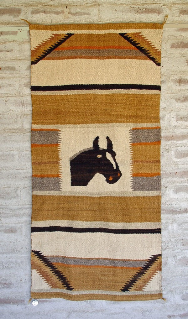 Double Saddle Blanket Pictorial Navajo Weaving : Historic : GHT 1973 - Getzwiller's Nizhoni Ranch Gallery