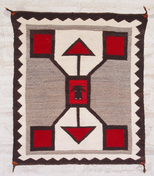 Storm Pattern Pictorial Single Saddle American Indian Blanket : Antique : GHT 2065 : 27″ x 32″ - Getzwiller's Nizhoni Ranch Gallery