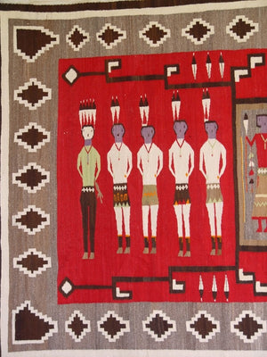 Yei Be Chei Pictorial / Storm Pattern Navajo weaving : Historic : GHT 2103: 63″ x 108″ - Getzwiller's Nizhoni Ranch Gallery