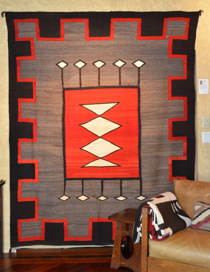 "Hubbell Transitional Navajo Rug : Antique Native American rugs : GHT 2235: 92"" X 74"""