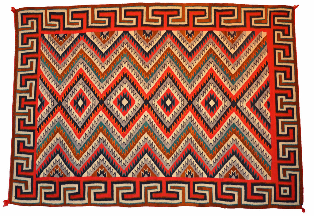"Red Mesa / Teec Nos Pos Navajo Weaving : Historic : GHT 86 : 51"" x 72"""