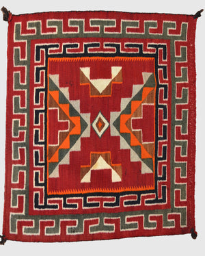 "HOLD Single Saddle Blanket - Teec Nos Pos Navajo Weaving : Historic : GHT 1892 : 26"" x 23"" - Getzwiller's Nizhoni Ranch Gallery"