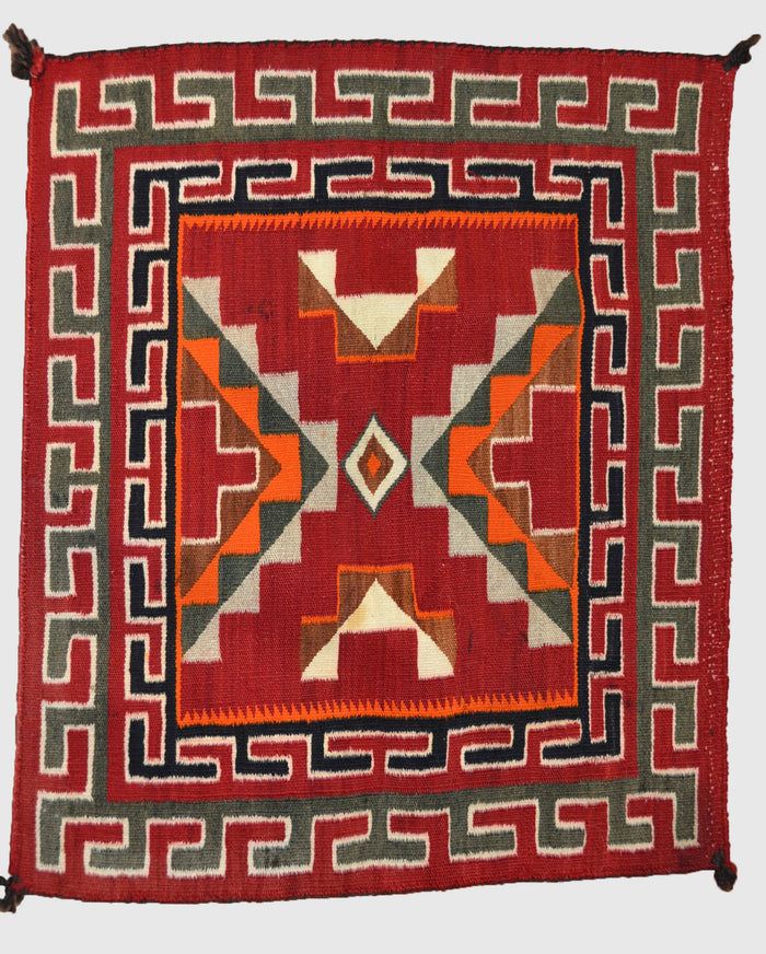 "Single Saddle Blanket - Teec Nos Pos Navajo Weaving : Historic : GHT 1892 : 26"" x 23"""