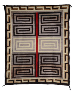 "Optical-Bistie Navajo Rug : Historic : GHT 252 : 44"" x 55"" - Getzwiller's Nizhoni Ranch Gallery"