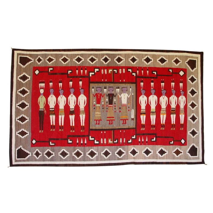 Yei Be Chei Pictorial / Storm Pattern Navajo weaving : Historic : GHT 2103: 63″ x 108″