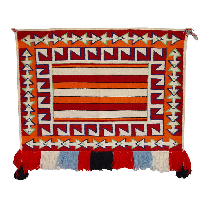 SOLD - Saddle Blanket - Navajo Teec Nos Pos Single Sunday : Historic : GHT 2125 : 30″ x 36″